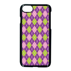 Plaid Triangle Line Wave Chevron Green Purple Grey Beauty Argyle Apple Iphone 7 Seamless Case (black)