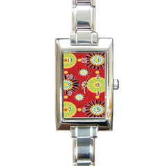 Sunflower Floral Red Yellow Black Circle Rectangle Italian Charm Watch