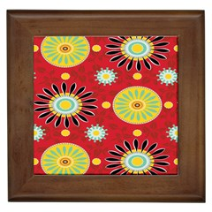 Sunflower Floral Red Yellow Black Circle Framed Tiles