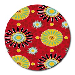 Sunflower Floral Red Yellow Black Circle Round Mousepads