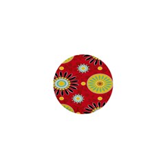 Sunflower Floral Red Yellow Black Circle 1  Mini Buttons