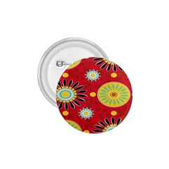 Sunflower Floral Red Yellow Black Circle 1 75  Buttons