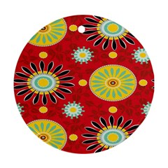 Sunflower Floral Red Yellow Black Circle Ornament (round) by Alisyart