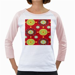 Sunflower Floral Red Yellow Black Circle Girly Raglans