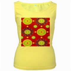 Sunflower Floral Red Yellow Black Circle Women s Yellow Tank Top
