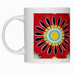 Sunflower Floral Red Yellow Black Circle White Mugs by Alisyart