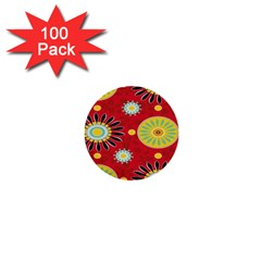 Sunflower Floral Red Yellow Black Circle 1  Mini Buttons (100 Pack)