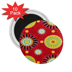 Sunflower Floral Red Yellow Black Circle 2 25  Magnets (10 Pack)