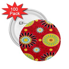 Sunflower Floral Red Yellow Black Circle 2 25  Buttons (100 Pack)