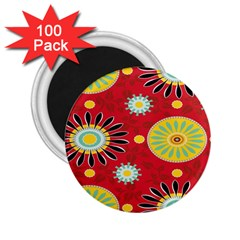 Sunflower Floral Red Yellow Black Circle 2 25  Magnets (100 Pack)