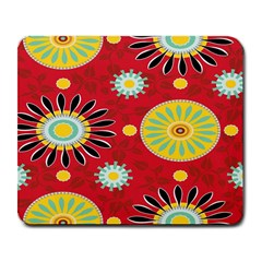 Sunflower Floral Red Yellow Black Circle Large Mousepads by Alisyart