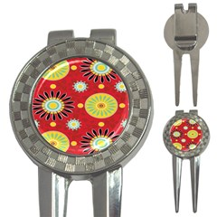 Sunflower Floral Red Yellow Black Circle 3 In 1 Golf Divots