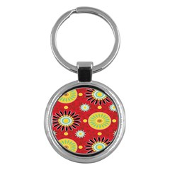 Sunflower Floral Red Yellow Black Circle Key Chains (round)  by Alisyart
