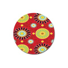 Sunflower Floral Red Yellow Black Circle Magnet 3  (round) by Alisyart