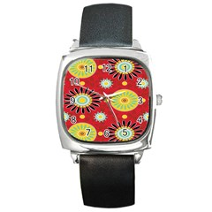 Sunflower Floral Red Yellow Black Circle Square Metal Watch by Alisyart