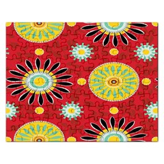 Sunflower Floral Red Yellow Black Circle Rectangular Jigsaw Puzzl by Alisyart