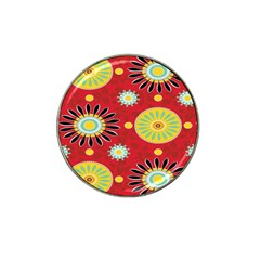 Sunflower Floral Red Yellow Black Circle Hat Clip Ball Marker (4 Pack) by Alisyart