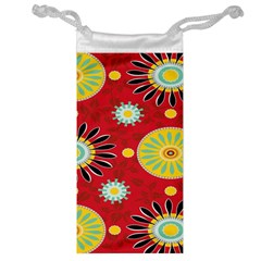 Sunflower Floral Red Yellow Black Circle Jewelry Bag by Alisyart