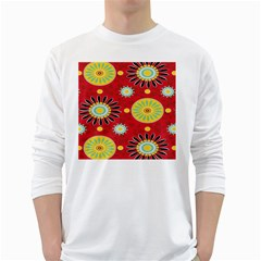 Sunflower Floral Red Yellow Black Circle White Long Sleeve T Shirts