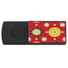Sunflower Floral Red Yellow Black Circle Usb Flash Drive Rectangular (4 Gb) by Alisyart