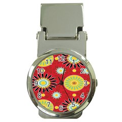 Sunflower Floral Red Yellow Black Circle Money Clip Watches by Alisyart