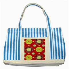 Sunflower Floral Red Yellow Black Circle Striped Blue Tote Bag by Alisyart