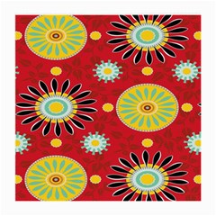 Sunflower Floral Red Yellow Black Circle Medium Glasses Cloth (2 Side) by Alisyart