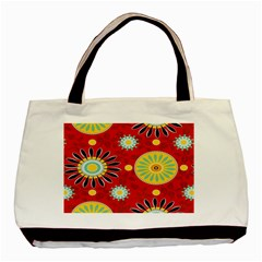 Sunflower Floral Red Yellow Black Circle Basic Tote Bag (two Sides) by Alisyart