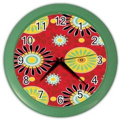 Sunflower Floral Red Yellow Black Circle Color Wall Clocks