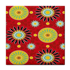 Sunflower Floral Red Yellow Black Circle Face Towel by Alisyart