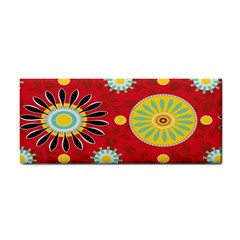 Sunflower Floral Red Yellow Black Circle Cosmetic Storage Cases by Alisyart