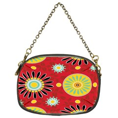 Sunflower Floral Red Yellow Black Circle Chain Purses (one Side)  by Alisyart
