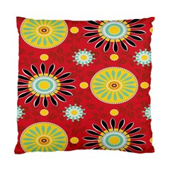 Sunflower Floral Red Yellow Black Circle Standard Cushion Case (one Side)