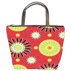 Sunflower Floral Red Yellow Black Circle Bucket Bags