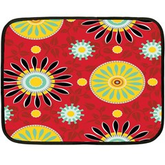 Sunflower Floral Red Yellow Black Circle Fleece Blanket (mini)