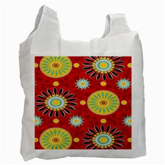 Sunflower Floral Red Yellow Black Circle Recycle Bag (two Side)