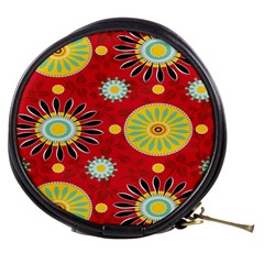 Sunflower Floral Red Yellow Black Circle Mini Makeup Bags