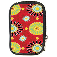 Sunflower Floral Red Yellow Black Circle Compact Camera Cases