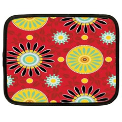 Sunflower Floral Red Yellow Black Circle Netbook Case (xl)