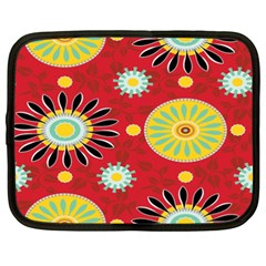 Sunflower Floral Red Yellow Black Circle Netbook Case (xxl)