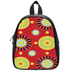 Sunflower Floral Red Yellow Black Circle School Bags (small)  by Alisyart