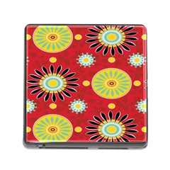 Sunflower Floral Red Yellow Black Circle Memory Card Reader (square) by Alisyart