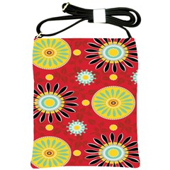 Sunflower Floral Red Yellow Black Circle Shoulder Sling Bags