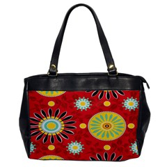 Sunflower Floral Red Yellow Black Circle Office Handbags
