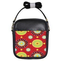 Sunflower Floral Red Yellow Black Circle Girls Sling Bags