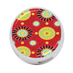 Sunflower Floral Red Yellow Black Circle 4 Port Usb Hub (one Side)