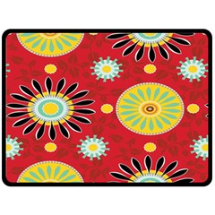 Sunflower Floral Red Yellow Black Circle Fleece Blanket (large)