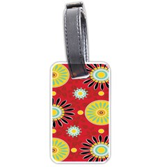 Sunflower Floral Red Yellow Black Circle Luggage Tags (one Side)