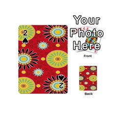 Sunflower Floral Red Yellow Black Circle Playing Cards 54 (mini)