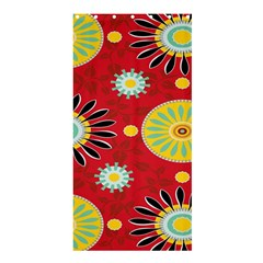Sunflower Floral Red Yellow Black Circle Shower Curtain 36  X 72  (stall)  by Alisyart